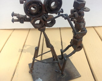 Vintage Nuts & Bolts Camera Man With Attitude--Original Signed Metal Sculpture/Metal Art From Found Objects--Piqué Assiette-Rustic Hollywood