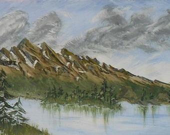 "Drawing ""Northern Mountains"" - gouache on paper.  Картина « Северные Горы» -  бумага, гуашь,  20х 29 см,  масхитин."