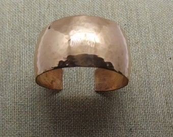 """Domed Hammered Copper Cuff 1"""" Wide"""