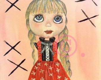 Blythe doll painting original art in acrylic on canvas girl in red