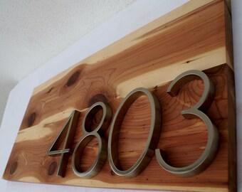 Modern Cedar Address Plaque