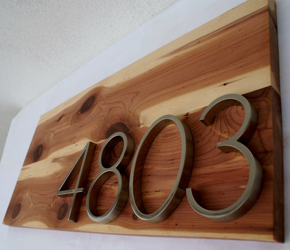 Modern Cedar Address Plaque