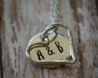 Sterling Silver Hand Stamped Heart Necklace