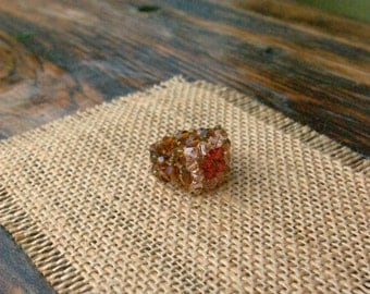 Swarovski Crystal Beaded Ring/ Woven Crystal Ring/ Golden Brown Ring/ Flower Beaded Ring