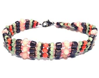 Pink & Green Intricate Beaded Bracelet
