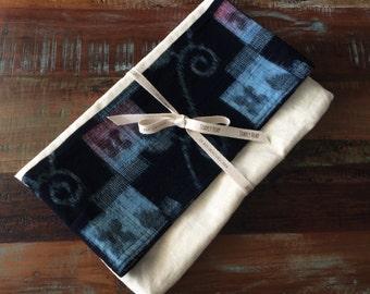 Makeforgood Vintage Japanese Indigo and Hemp Linen Fold Over Clutch