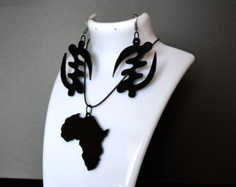 African Jewelry, Africa Earrings GYE NYAME, Africa Necklace, African Adinkra, Africa gift, African jewelry set