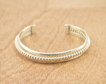 Coiled Inlay Cuff Bracelet Sterling Silver 21g Vintage Estate
