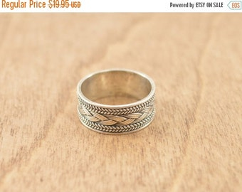 ON SALE Braided Inlay Band Ring Size 8 Sterling Silver 3.9g Vintage Estate