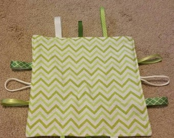 Green-chevron-teething toy-sensory toy-security blanket- crinkle toy - baby shower gift