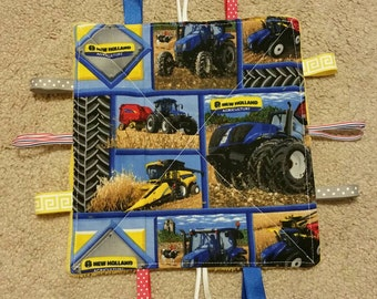 New Holland-tractors - teething toy-sensory toy- crinkle toy - baby shower gift