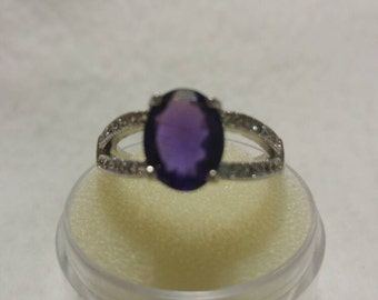 Amethyst & White Topaz Sterling Silver Ring, 1.75ct Amethyst, Size 7