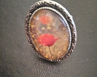 ring silver-coloured oval poppy