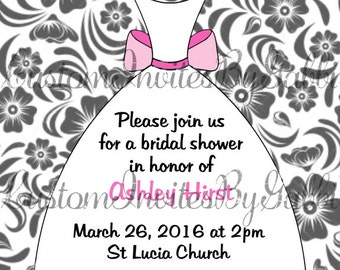 bridal shower invitation (flowers and dress)