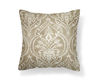 Sand Damask Pillow Cover, Decorative Pillow Cover, Throw Pillow Cover