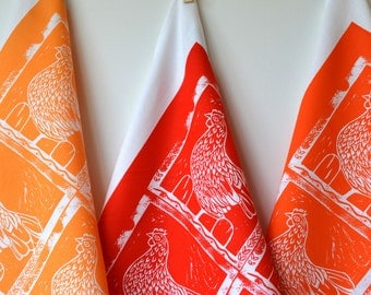 Hand Printed  Tea Towel - The Hen