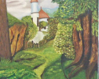 """Original oil painting: """"The old forest Castle"""""""