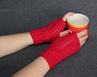 Red cotton mittens, cotton fingerless gloves, spring and autumn cotton crochet mittens