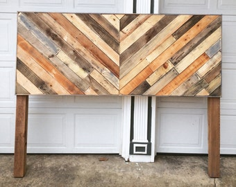 Rustic Reclaimed Pallet Wood Chevron Headboard - Local pick up only