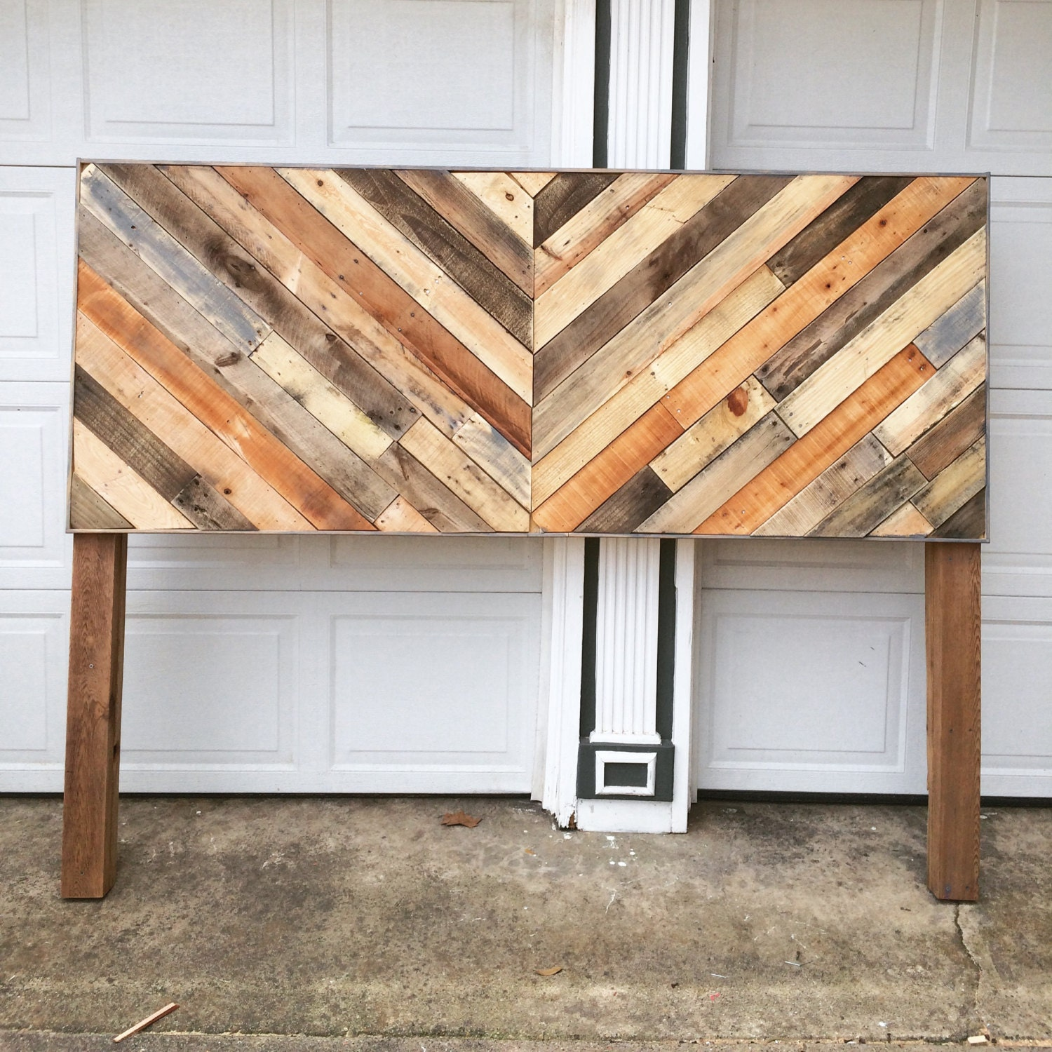 Rustic reclaimed pallet wood chevron headboard local pick up for Local reclaimed wood
