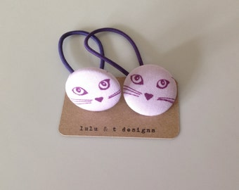 Cats,  hair ties, Cat fabric covered button hair tie pair