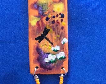 Orange dragonfly  necklace
