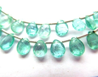 41 CT.STRAND 49 BEADS of natural green apatite gemstone faceted almond briolette
