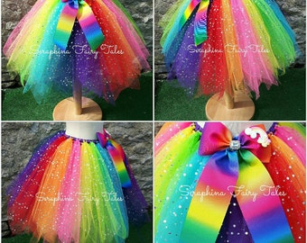 Rainbow Tutu Skirt. Colourful and Bright Birthday Fairy Tutu. Handmade to Order by Seraphina Fairy Tales.