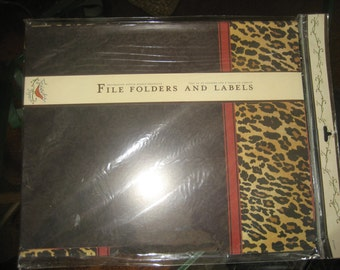 Set of 12 Leopard/Cheetah File Folders and 2 Pages of Labels