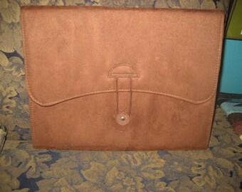 Brown Suede Accordion File with 12 Pockets