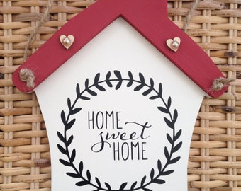 Personalised Home Sweet Home Plaque - Choose roof colour - New Home Gift Present