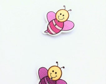 Bumble Bee Button - Flatback Pink Bee Buttons - Notions Embellishment - Flat Back Wood 25 MM - Shankless Craft Button Spring - Large Button