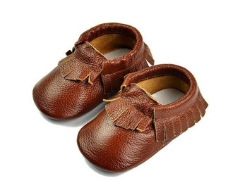 Baby&Toddler Leather Moccasins ~ Chocolate Brown