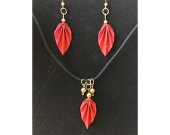 Red Origami Leaf Earrings and Necklace Set