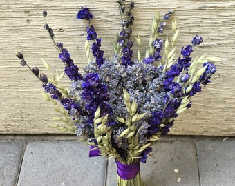 Rustic chic wedding dried English Lavender bouquet, dried purple Larkspur, purple wedding dried bouquet