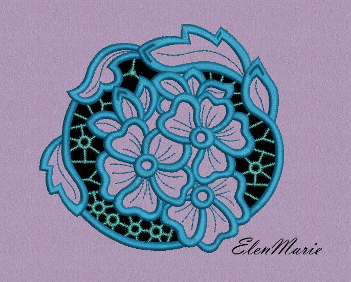 Machine embroidery design richelieu cutwork flowers