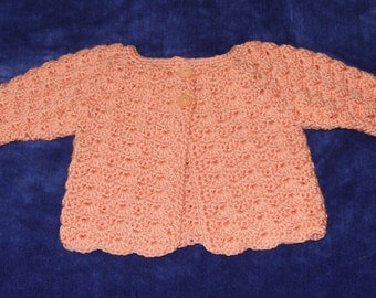 Crochet Baby Sweater,  3 Months,  Baby Sweater, Crocheted Baby Sweater