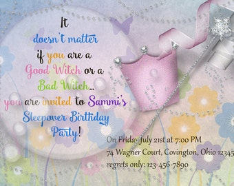 """Wizard of Oz Good Witch Bad Witch DIGITAL Customized Whimsical Birthday Party Invitation Bright Pastel Colors """"5x7"""" 300dpi"""