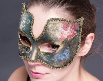 "Green masquerade mask ""Vintage"". Carnival mask. Venetian half-mask from papier mache"