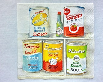 Free shipping!!! 2 pcs.Decoupage CANNED FOOD napkins,napkin for decoupage,lunch napkin,scrapbooking,paper craft projects,mixed media Active