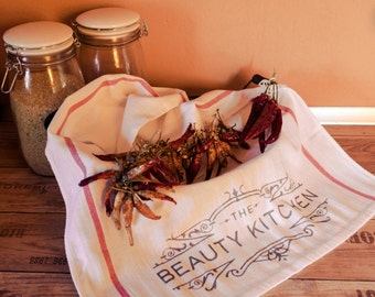 "Dishcloth ""beauty kitchen"" (red white)"