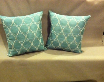 Aqua, or Dusty Turquoise Throw Pillow Set,