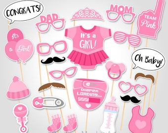Baby Shower Photo Props  - It's a Girl Baby Photo Booth Props - Printable Photobooth Props - Team Pink Baby Girl Printable Party Props