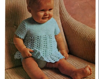 Crochet pattern baby dress and knickers PDF Instant Download Nr.85