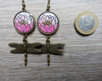 Earrings flight over water lilies