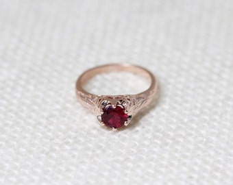 Antique Style Ruby Solitaire 14K Rose Gold Ring, Antique Engagement Ring, Ruby Rings, Rose Gold, Gemstone Ring