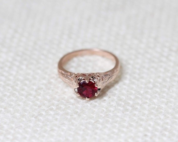 Items Similar To Antique Style Ruby Solitaire 14k Rose