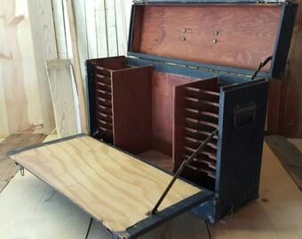 Vintage Salesman Case Suitcase Catalog Case 1950's Sample Briefcase Display Case Storage Case Traveling Salesman Case Tool Case Luggage