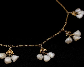 Victorian necklace fresh water pearls