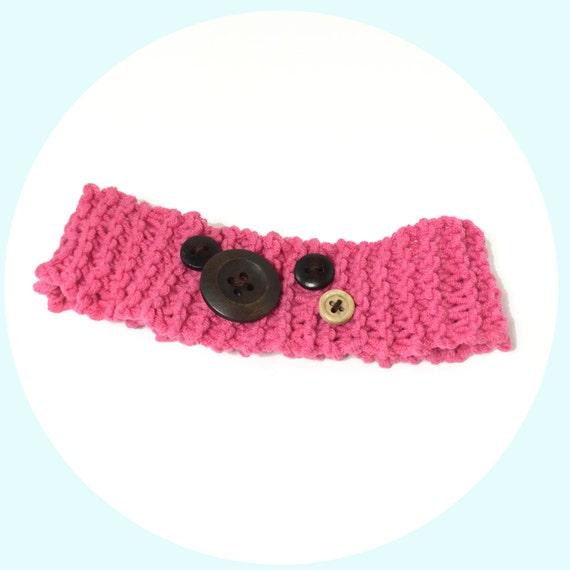 Knit Headband Pattern Button : Pink Knitted Headband With Wooden Button Decoration Knit Hair